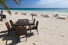 Op het strand van Caribe dichtbij aan Tulum, Mexico Royalty-vrije Stock Fotografie
