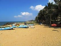 Op het strand van Negombo/Sri Lanka Stock Foto