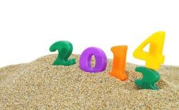 2014 op het zand Stock Foto