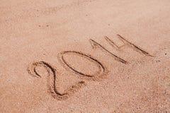 2014 op het zand Stock Afbeelding
