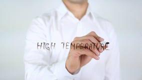 Op hoge temperatuur, Zakenman Writing op Glas royalty-vrije stock afbeelding