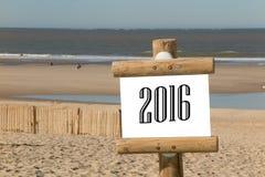 2016 op houten teken Stock Foto