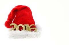 2016 op Kerstmishoed Stock Foto's