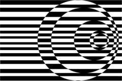 Op Kunst die Concentrische Zwarte Cirkels/Wit tegenover elkaar stelt stock illustratie