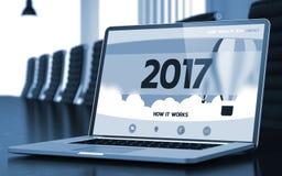 2017 op Laptop in Vergaderzaal 3d Stock Foto's