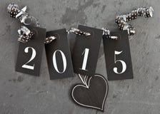 2015 op leiachtergrond Stock Afbeeldingen