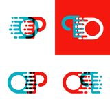 OP letters logo with accent speed in red and blue. Something like OP letters logo with accent speed in red and blue Royalty Free Stock Photos