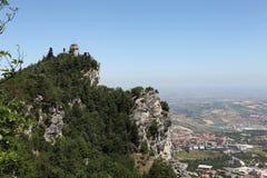 Op Monte Titano. San Marino. stock afbeelding