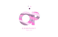 Op o p alphabet letter logo pink purple line icon template vecto Royalty Free Stock Images