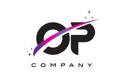 OP O P Black Letter Logo Design with Purple Magenta Swoosh. And Stars Stock Images