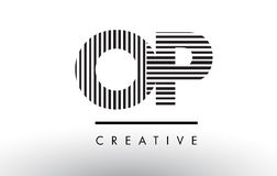 OP O P Black and White Lines Letter Logo Design. Royalty Free Stock Photo