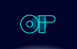 Op o p blue line circle alphabet letter logo icon template vecto. Op o p blue line circle letter logo alphabet creative company vector icon design template Royalty Free Stock Photo