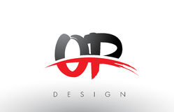 OP O P Brush Logo Letters with Red and Black Swoosh Brush Front. OP O P Brush Logo Letters Design with Red and Black Colors and Brush Letter Concept Royalty Free Stock Photo