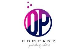 OP O P Circle Letter Logo Design with Purple Dots Bubbles. OP O P Circle Letter Logo Design with Purple Magenta Dots Bubbles Vector Illustration Stock Photos