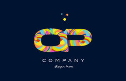 op o p colorful alphabet letter logo icon template vector Stock Photography