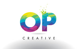 OP O P Colorful Letter Origami Triangles Design Vector. Royalty Free Stock Images