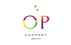 Op o p  creative rainbow colors alphabet letter logo icon. Op o p  creative rainbow colors colored alphabet company letter logo design vector icon template Stock Photos