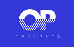 OP O P Dotted Letter Logo Design with Blue Background. Royalty Free Stock Photos