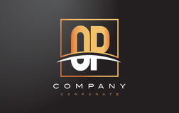 OP O P Golden Letter Logo Design with Gold Square and Swoosh. Stock Photos