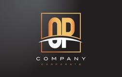 OP O P Golden Letter Logo Design with Gold Square and Swoosh. OP O P Golden Letter Logo Design with Swoosh and Rectangle Square Box Vector Design Stock Photos
