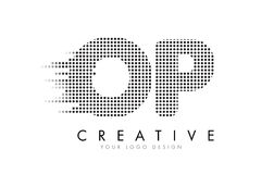 OP O P Letter Logo with Black Dots and Trails. Royalty Free Stock Photography