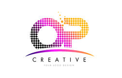 OP O P Letter Logo Design with Magenta Dots and Swoosh. OP O P Dots Letter Logo Design with Magenta Bubble Circles and Swoosh Royalty Free Stock Photography