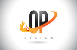 OP O P Letter Logo with Fire Flames Design and Orange Swoosh. Stock Image
