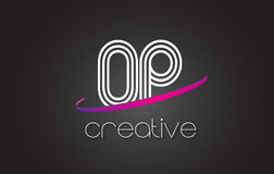 OP O P Letter Logo with Lines Design And Purple Swoosh. Royalty Free Stock Photography