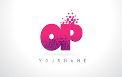 OP O P Letter Logo with Pink Purple Color and Particles Dots Des. OP O P Letter Logo with Pink Letters and Purple Color Particles Dots Design Royalty Free Stock Photos