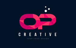 OP O P Letter Logo with Purple Low Poly Pink Triangles Concept. OP O P Purple Letter Logo Design with Low Poly Pink Triangles Concept Royalty Free Stock Image
