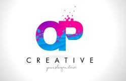 OP O P Letter Logo with Shattered Broken Blue Pink Texture Desig. OP O P Letter Logo with Broken Shattered Blue Pink Triangles Texture Design Vector Illustration Stock Photos
