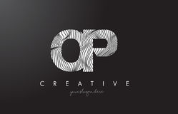 OP O P Letter Logo with Zebra Lines Texture Design Vector. Royalty Free Stock Photo