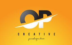 OP O P Letter Modern Logo Design with Yellow Background and Swoo. OP O P Letter Modern Logo Design with Swoosh Cutting the Middle Letters and Yellow Background Royalty Free Stock Images