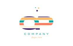 Op o p line stripes pastel color alphabet letter logo icon templ Stock Photo