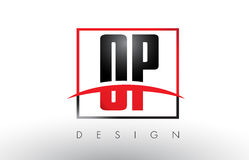 OP O P Logo Letters with Red and Black Colors and Swoosh. Creative Letter Design Vector Stock Image