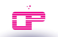 Op o p pink purple line stripe alphabet letter logo vector templ. Op o p alphabet letter logo pink purple line stripe company design template creative abstract Royalty Free Stock Photos