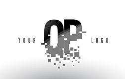 OP O P Pixel Letter Logo with Digital Shattered Black Squares. Creative Letters Vector Illustration Royalty Free Stock Photography