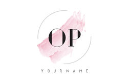 OP O P Watercolor Letter Logo Design with Circular Brush Pattern. OP O P Watercolor Letter Logo Design with Circular Shape and Pastel Pink Brush Stock Image