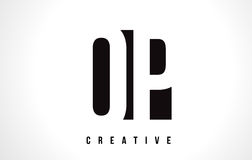 OP O P White Letter Logo Design with Black Square. Royalty Free Stock Image