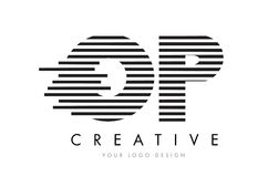 OP O P Zebra Letter Logo Design with Black and White Stripes Royalty Free Stock Images
