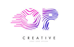 OP O P Zebra Lines Letter Logo Design with Magenta Colors. OP O P Zebra Letter Logo Design with Black and White Stripes Vector Stock Photos