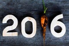 2016 op oude grijze houten achtergrond met vuile verse wortel inste Stock Afbeelding