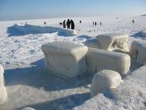 Op overzees strand in de winter Royalty-vrije Stock Afbeeldingen