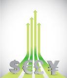 Op pijlen en muntsymbolen Royalty-vrije Stock Foto