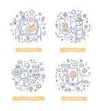 Op plaats-gebaseerde Marketing Krabbelillustraties stock illustratie