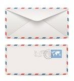 Opłat pocztowa koperty z znaczkami Obrazy Royalty Free