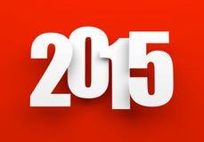 2015 op rood Stock Afbeelding