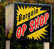 Op Shop Sign. Bright advertising sign about a Op Shop Stock Photography