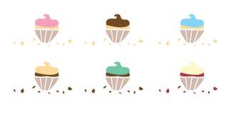 Op smaak gebrachte Cupcakes met Crumbs vector illustratie