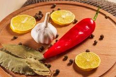 Op smaak gebrachte ingrediënten op een houten achtergrond Stock Foto's